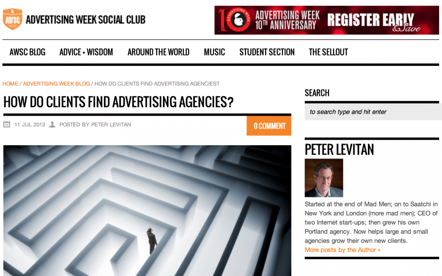 Featured in Advertising Week: How Do Clients Find Advertising Agencies?